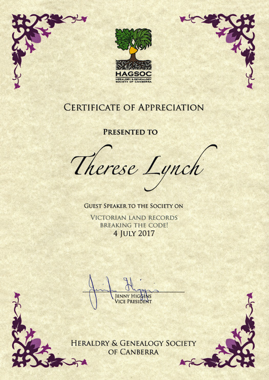 Image of HAGSOC's Certification of Appreciation for Therese's presentation on Victorian Land Records : Breaking the Code