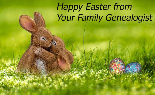 Happy Easter image with bunnies