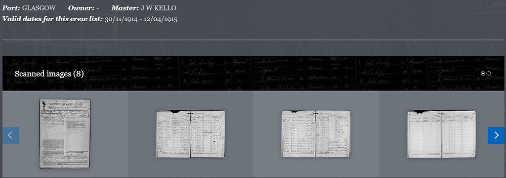 Picture of scanned images when searching for an individual or vessel.  From the UK National Maritime Museum.