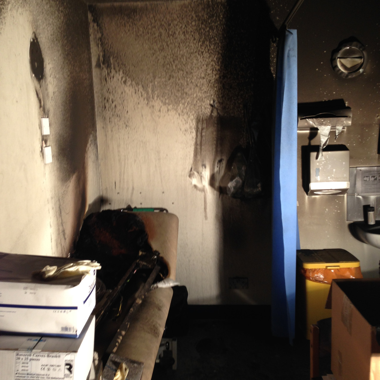 Fire damaged consulting room