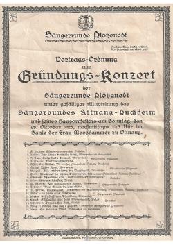 Plakat vom Gründungskonzert der