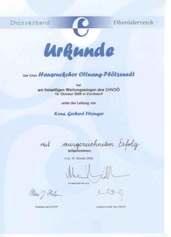 Urkunde vom Chorwettbewerb