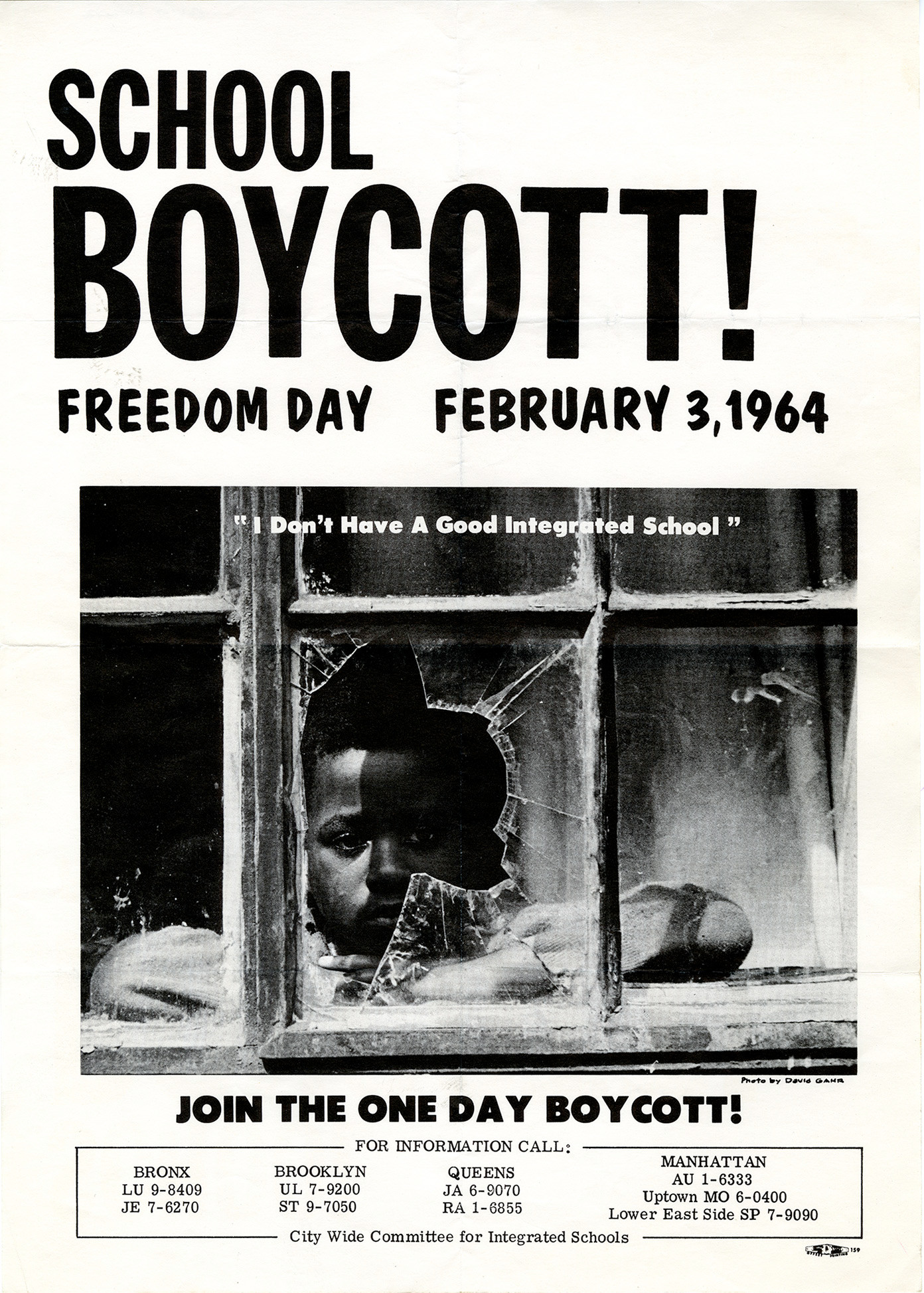 A flyer for the boycott against school segregation.