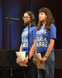 Tiffani Torres and Sophie Mode of Teens Take Charge performing their paired testimony on school segregation
