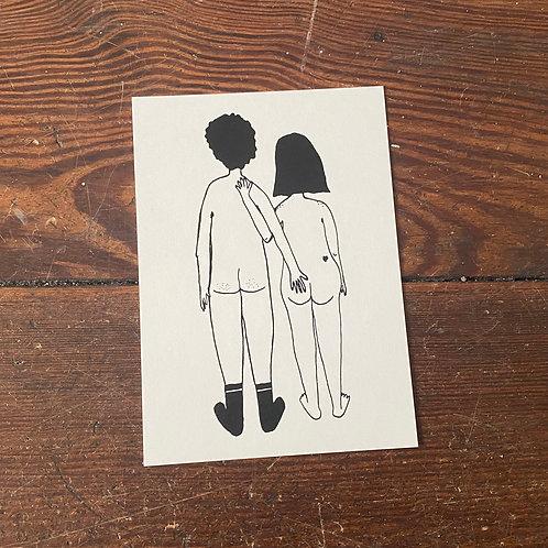 """Postcard """"Naked Couple"""""""