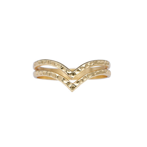 Double V Ring Gold