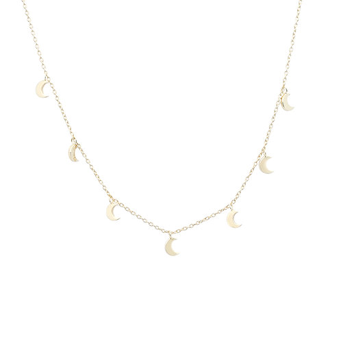 Hipster Necklace Moon Gold