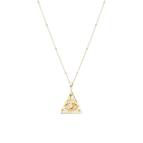 Triangle Eye Necklace Gold
