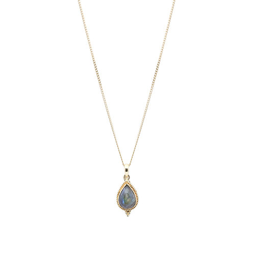 Green Drop Necklace Gold