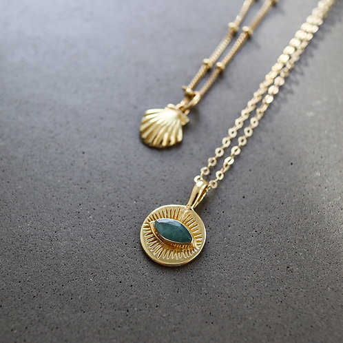 Green Eye Necklace Gold