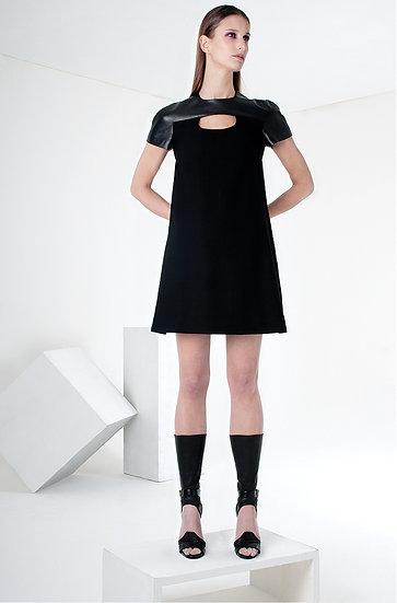 LITTLE BLACK DRESS (wool & leather)