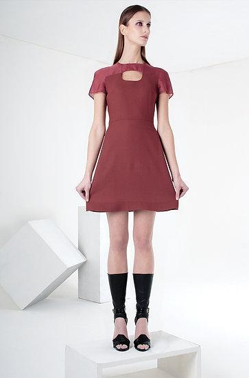 LITTLE RED DRESS (wool & organza)