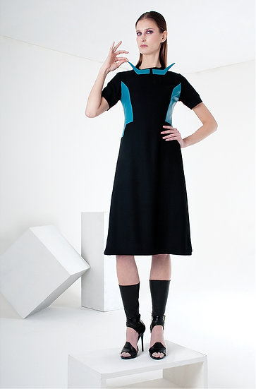 MOUSTACHE A-LINE DRESS (wool & leather)