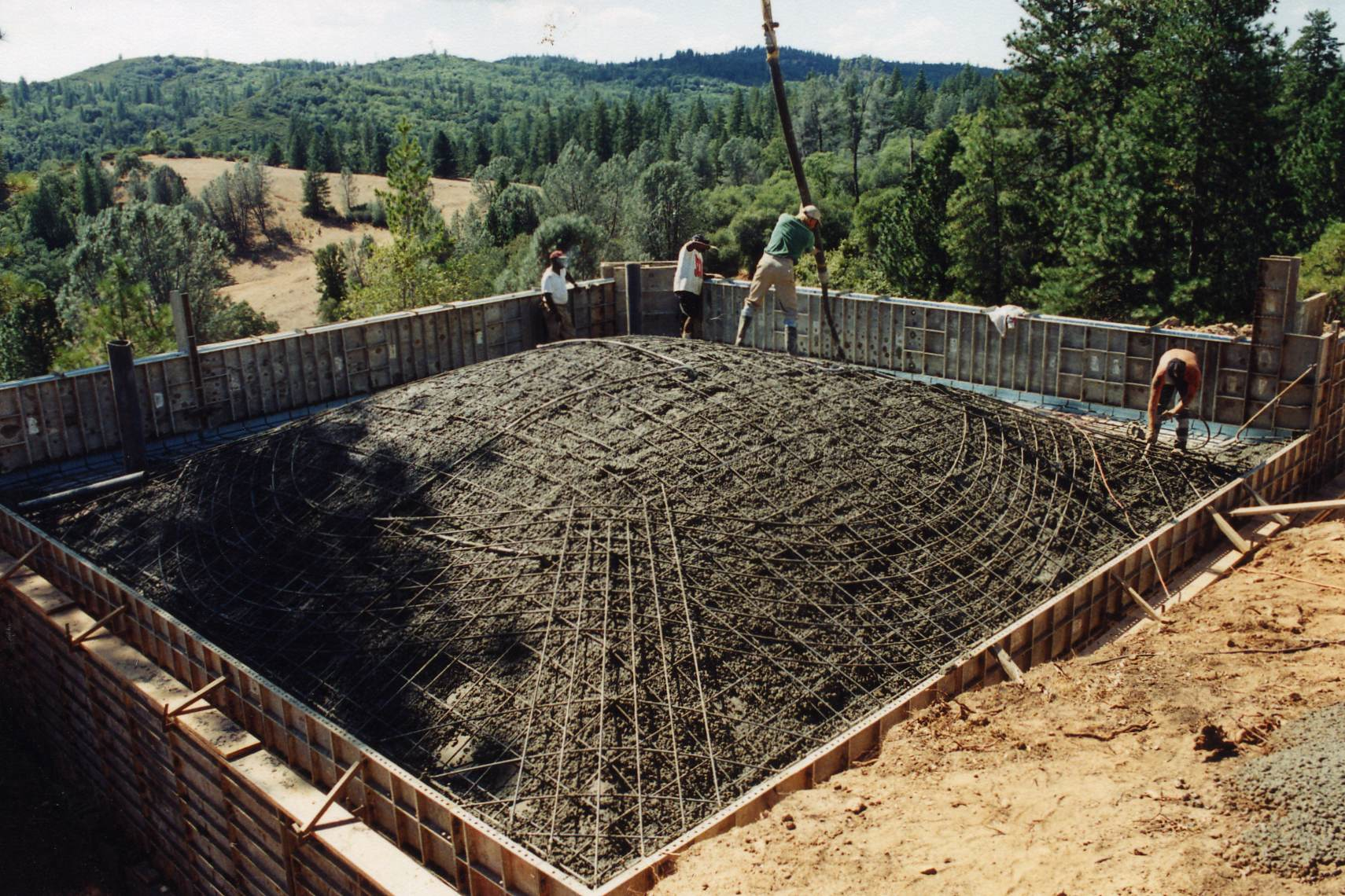 Pouring Concrete Over Rebar