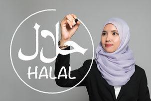 Halal certification concept. Sign of hal