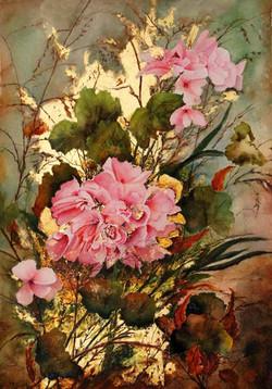Or et rose aquarelle et feuille d'or