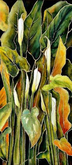 Vitrail floral aquarelle et feuille