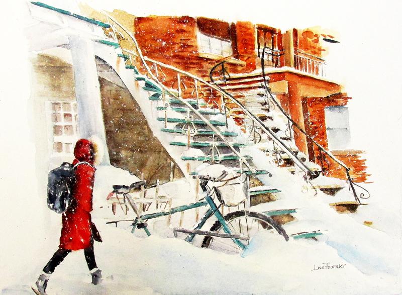 Trottoirs en hiver à Montréal