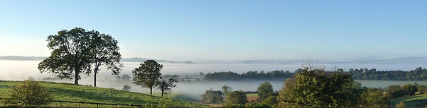 misty view from Shallowdale House Ampleforth