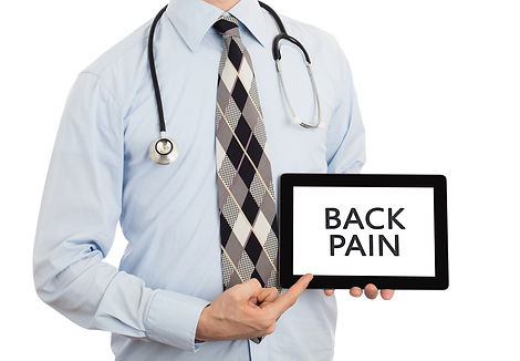 Dr pointing at Back pain