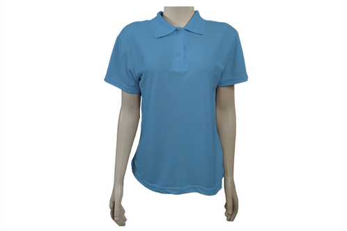 Camisa Polo Feminina - Piquet - Azul Celeste - Kit c/6 peças