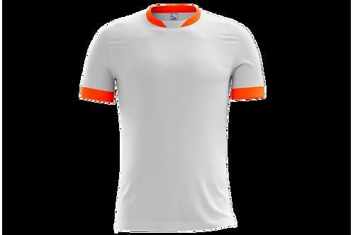 Camiseta Branca e Laranja Flúor - 6 peças