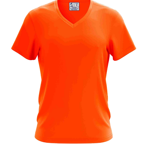 Camiseta Gola V Laranja Flúor - 6 peças