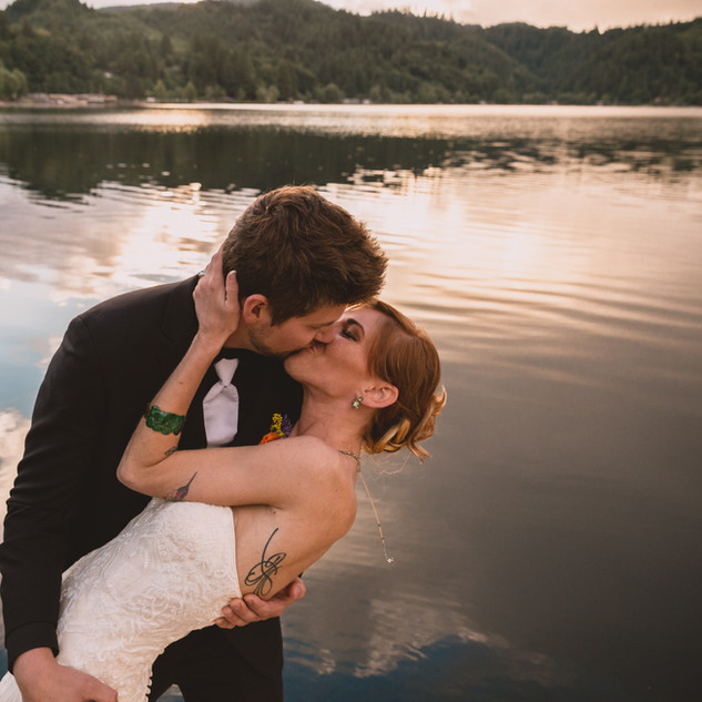 Alli & Brennen | Triangle Lake Oregon | Lakeside Wedding