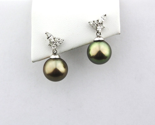18k White Gold Earrings With Round Chocolate Tahitian Pearl Drops 11 3mm Four Marquis Cut Diamonds And Eight Total Diamond
