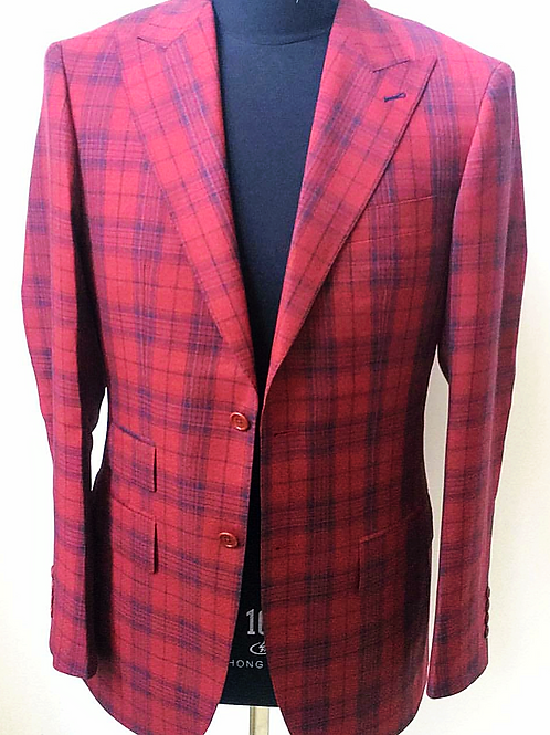 Red and Blue Plaid Blazer