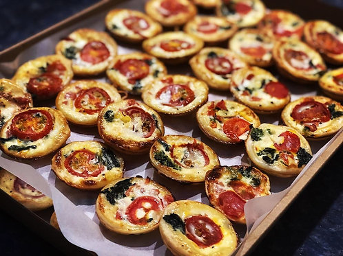 Spinach, Cherry Tomato and Parmesan Mini Quiche Platter
