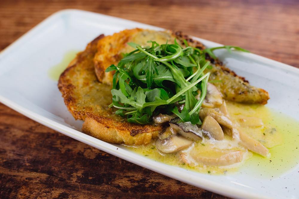 A photo of The Broadfield's creamed wild garlic mushrooms.