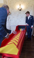 groom and father playing bowling Garden Games  Hire  Weddings Birmingham