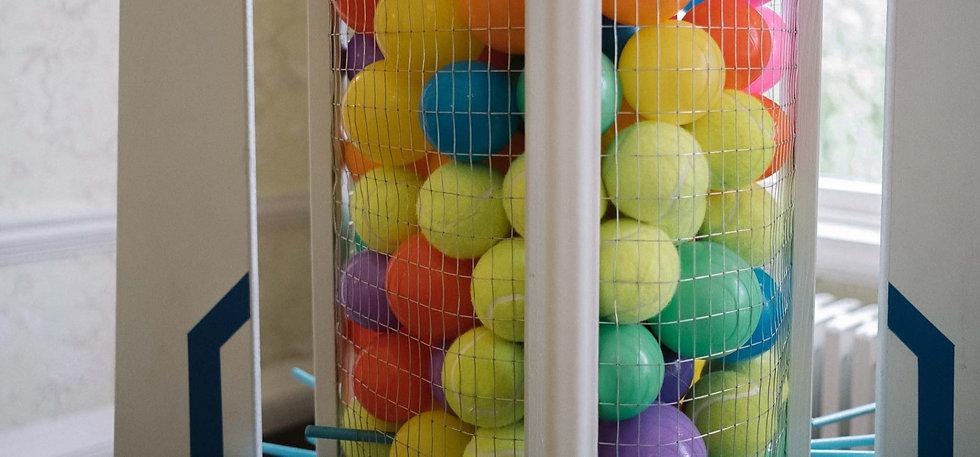 rocket launch colourful balls
