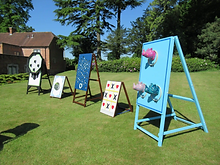 mixed garden games and giant games on a pretty lawn