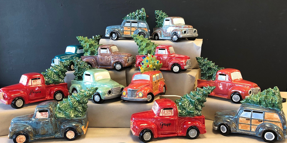adult ceramic light up truck/wagon with tree