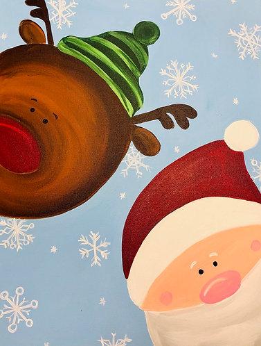 Rudolph and Santa Canvas
