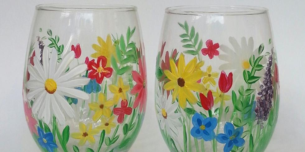 Adult BYOB Workshop: Spring Wine Glass Painting