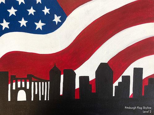 Pittsburgh Flag Skyline Canvas