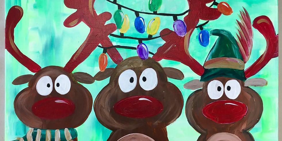 youth reindeer canvas painting workshop