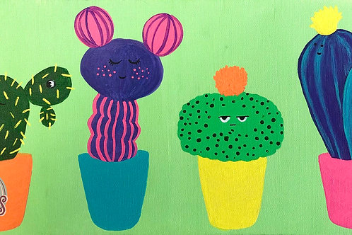 Cute Cacti with Faces Canvas