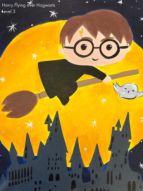 Harry Flying over Hogwarts Canvas