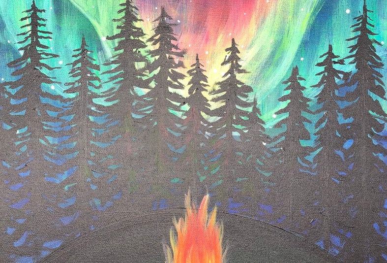 Campfire Under the Northern Lights Canvas