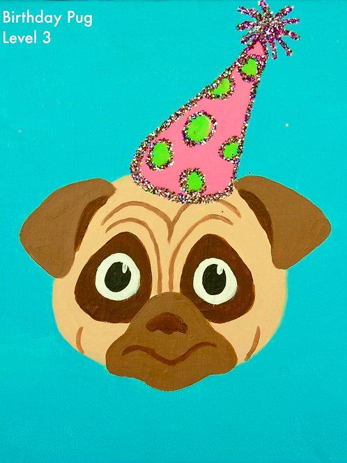 Birthday Pug Canvas