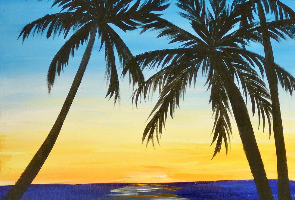Palm Tree Sunset Canvas