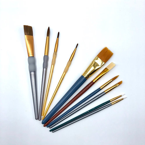 Pottery & Canvas Paint Brush Bundled Set - (Curbside Art)