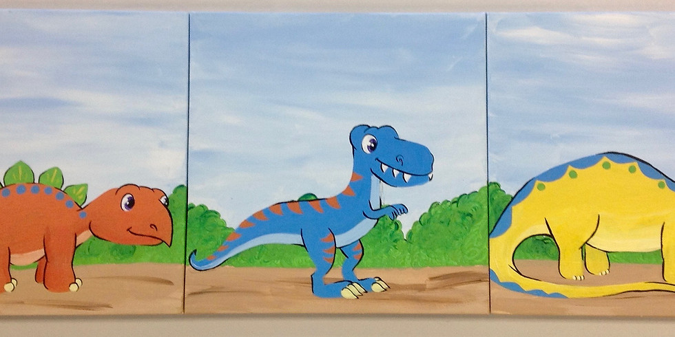 A Doodler and a Dot: Family Dinosaur Canvas Painting Workshop