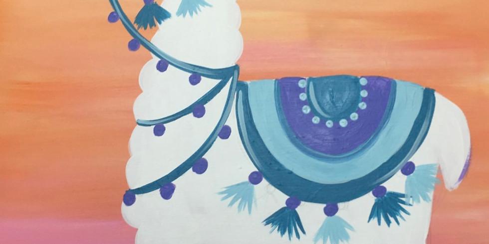 Youth Llama Canvas Night