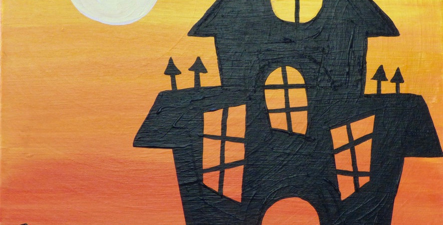 Haunted House at Sunset Canvas