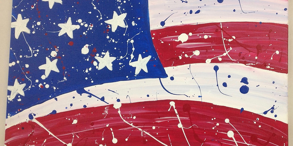 Dots and Tots: American Flag Canvas Painting